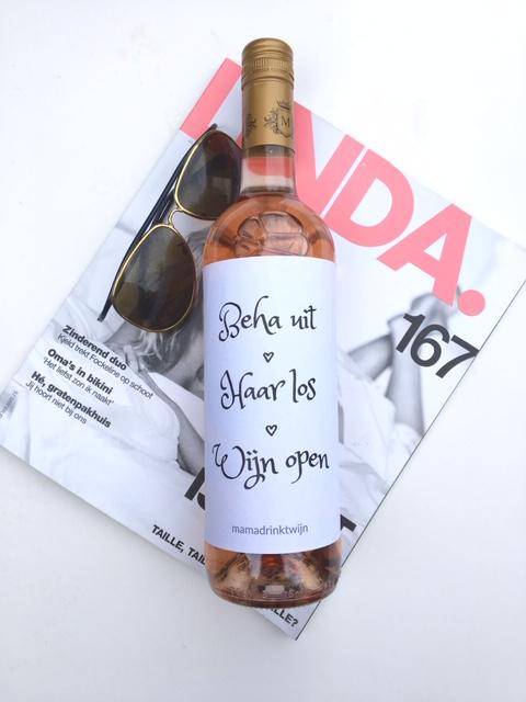 Beha Uit Wijn Open wijnetiket, grappig kado voor de wijnliefhebber