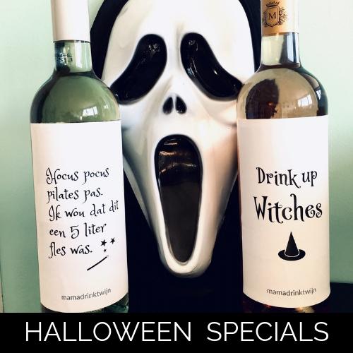 Halloween wijnetiket, origineel kado voor Halloween van Mama Drinkt wijn