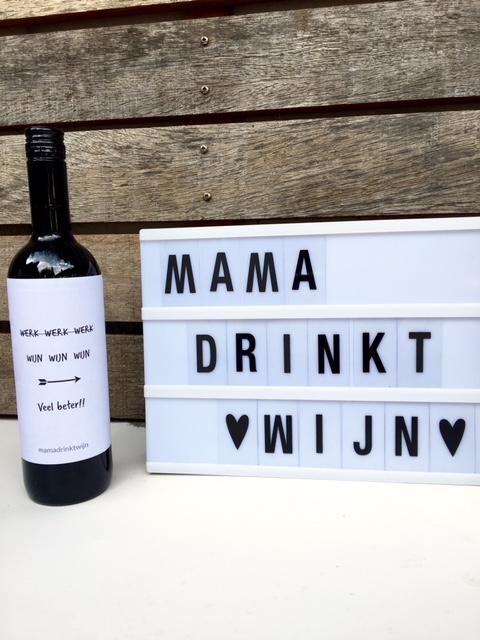 Werk Wijn wijnetiket, origineel kado voor de echte wijnliefhebber