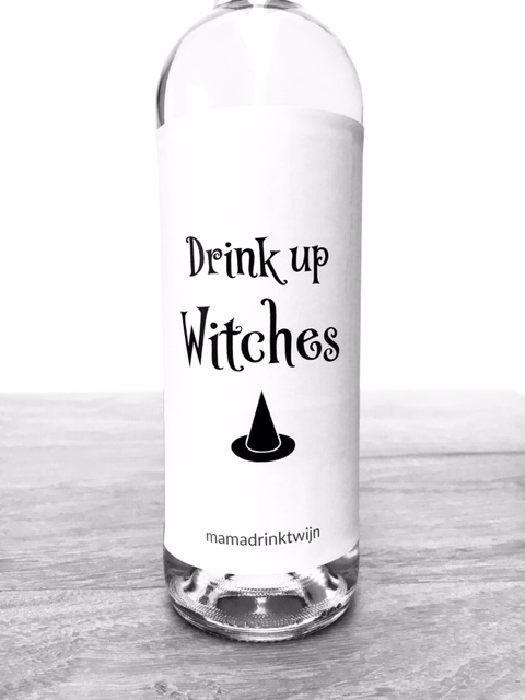 Drink Up Witches wijnetiket, origineel kado voor Halloween plak humor op je fles wijn