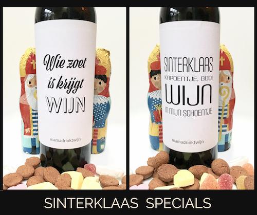 Originele wijnetiketten speciaal voor Sinterklaas of pakjesavond voor de wijnliefhebber