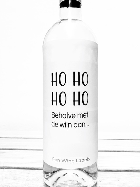 wijnetiket ho ho, een ideaal cadeau voor kerstmis
