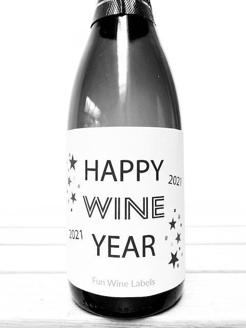 wijnetiket happy wine year, perfect voor oud en nieuw