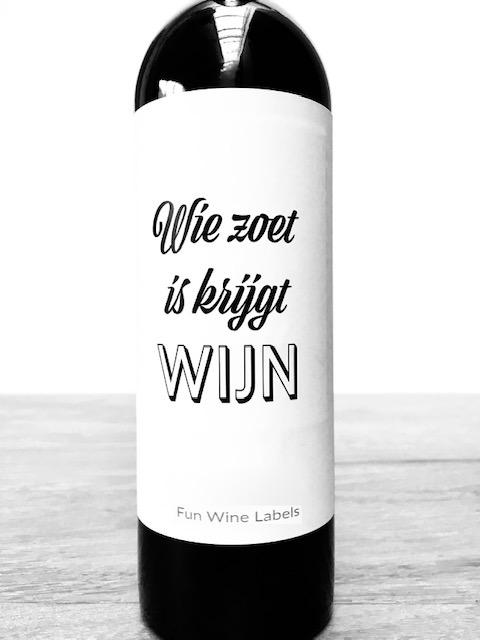 Wijnetiket Zoet Wijn, een ideaal lintcadeautje