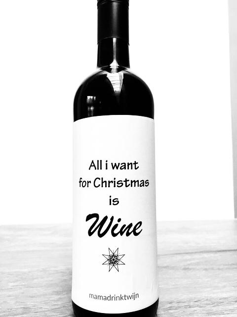 All I Want For Christmas wijnetiket, leuk kado voor de wijnliefhebber voor kerstmis