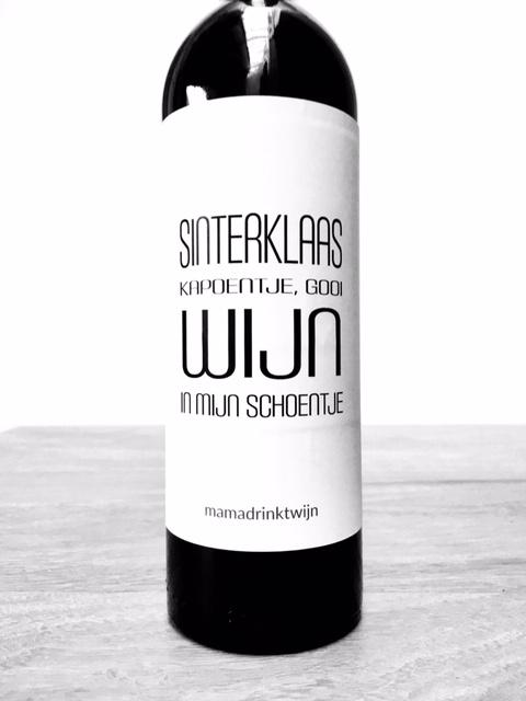 Sinterklaas Kapoentje wijnetiket, origineel Sinterklaas cadeau voor in de schoen, pakjesavond of Sinterklaas surprise, van mama drinkt wijn