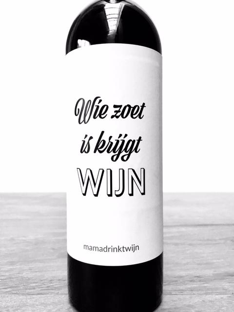 Sinterklaas Zoet Wijn wijnetiket, origineel Sinterklaas cadeau voor in de schoen, pakjesavond of Sinterklaas surprise, van mama drinkt wijn