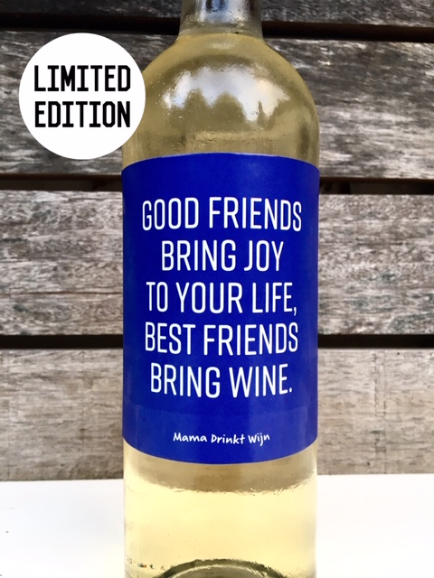 Limited Edition wijnetiket 'Good Friends' van Mama Drinkt Wijn