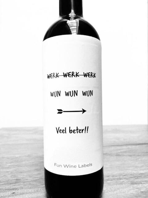 wijnetiket werk wijn, perfect cadeau voor je collega