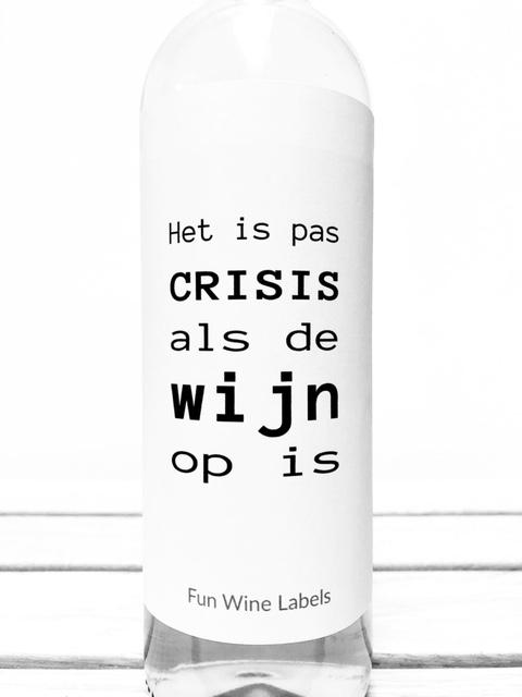 Wijnetiket Crisis Wijn van Fun Wine Labels