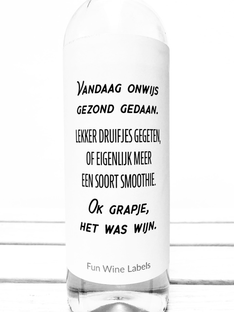 Wijnetiket Wijn Smoothie van fun wine labels