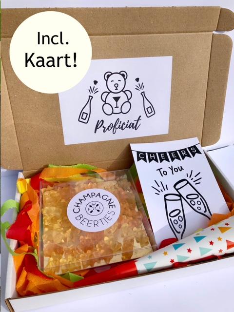 brievenbusbox proficiat fun, een brievenbus cadeau pakket voor verjaardag